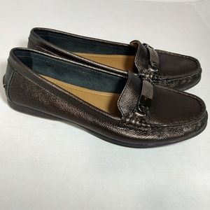 Coach bronze leather loafers Signature Sz 7 Olive